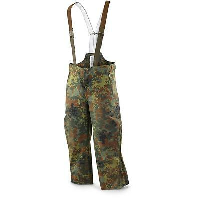 German Army Goretex waterproof over trousers military camo dungarees pants rain