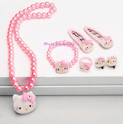 Girls Hello Kitty Jewelry Set Necklace Bracelet Ring Earrings Hair Clips