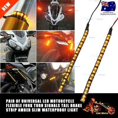 Front Fork LED Turn Signal Lights Indicator Strip For Kawasaki Honda Harley KTM
