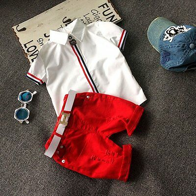 2Pcs Baby Boys Kids Toddler Summer Gentleman T-shirt +Shorts Pants Clothes Set