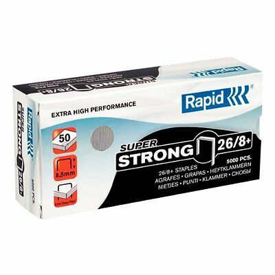 Pack Of 50 Rapid 26/8 Staples Cobra Grip X-Ray 8 Mm Shank Length Pack Of 5 000