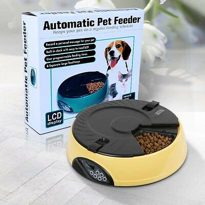 Digital Automatic LCD AUTO Dog Pet Feeder Dispenser Food Bowl Cat 6 Meal