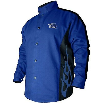 BLACK STALLION BSX® FR Welding Coat - Roy. Blue/Black - XL