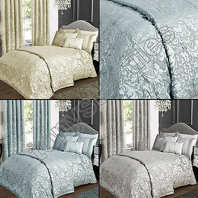 Luxury Elegant Jacquard Cream Silver Grey Blue Bedspread Bed Quilt Throw Cover