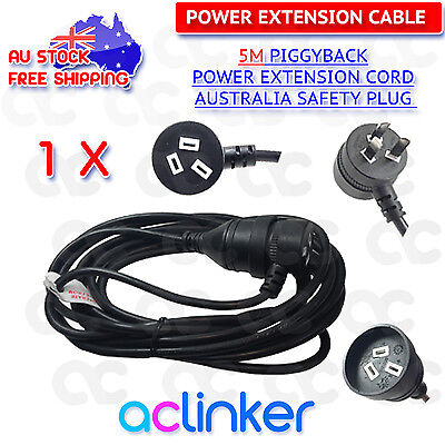 5M Piggyback Mains Power Extension Cord Australian 240V Power Lead AU 3Pin Black