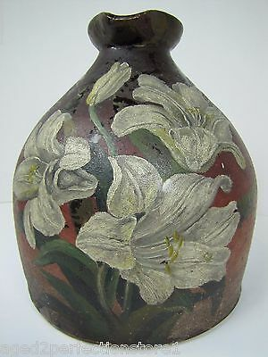 Antique Stoneware Syrup Jug w Handle hand painted Flowers floral batter pitcher