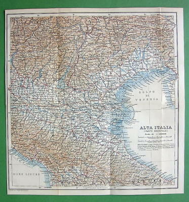 1898 MAP ORIGINAL Baedeker - Italy North-West Part
