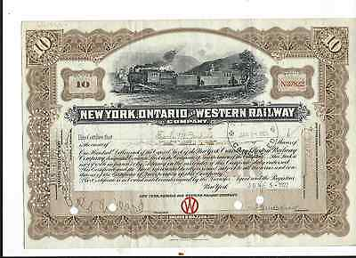 New York, Ontario and Western  RR Stock Certificate
