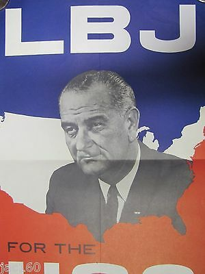 Vintage 1964 Political Poster- LBJ FOR THE USA