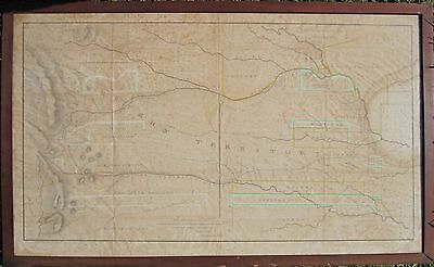 Antique 1836 Map Western Territory Indians Dragoon Expedition Scarce Dodge Ks Co