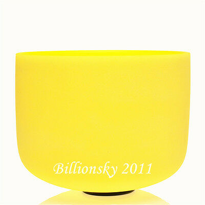 Perfect Pitch Frosted E Solar Plexus Chakra Yellow Color Crystal Singing Bowl 8""