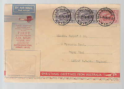 1931 Melbourne Australia to England Christmas Greetings FFC First Flight Cover