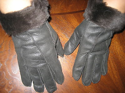 New Black  Sheepskin Womens Fur Gloves Mittens Brown sheepskin Fur Trim