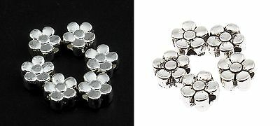 🎀 3 FOR 2 🎀 100 Silver Flower 6mm Spacer Beads For Jewellery Making
