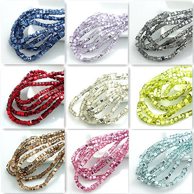New Colors 100pcs cube crystal glass loose 4mm beads  DIY AS90000