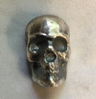 "1 oz Skull (Antique finish) 999 fine silver bar ""Yeager's Poured Silver"" YPS"