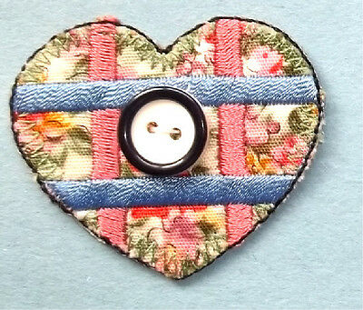 Sewing - Love - Quilting - Heart W/Button - Iron On Appique Patch