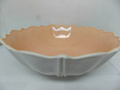 "Anchor Hocking Oyster & Pearl Vitrock Dusty Rose Pink 101/2 "" Fruit / Serve Bowl"