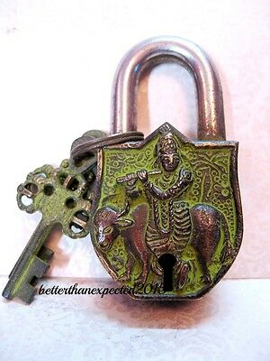 VINTAGE HAND MADE Brass Lord Krishna & Cow Padlock Garden Padlock with 2 Keys