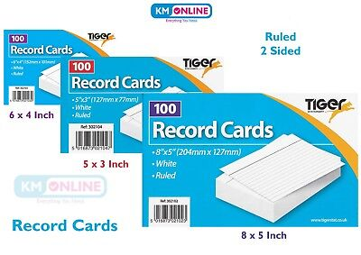 Revision/Flash/Index/Prompt/Report Record Card White/Coloured Feint Ruled Sheets