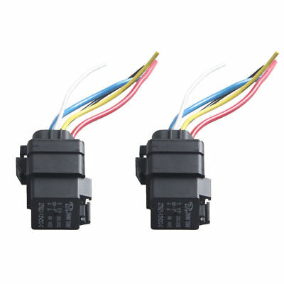 2x Waterproof Integrated Automobile Relay 12V DC 40A 5PIN AUTO RELAY Socket