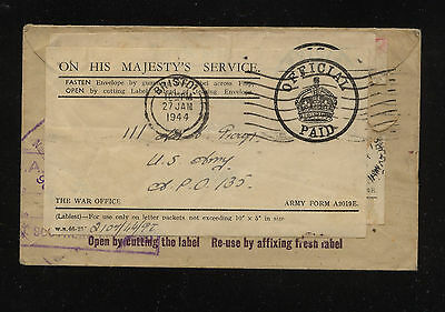 Great  Britain  official cover , Re used cover  1944            KL1229