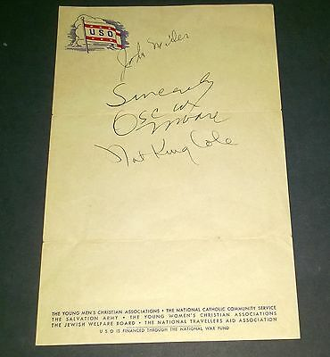 1940s NAT KING COLE TRIO SIGNED USO STATIONARY JOHN MILLER OSCAR MOORE AMAZING !