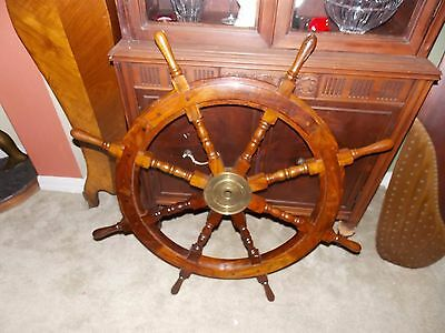 """Vintage Wood Ship's Wheel With Brass Center 37"""" Tall Very Well Built! Heavy!"""