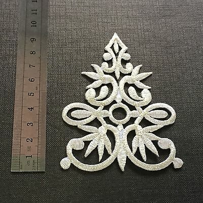 """4"""" Silver Celtic Cross Irish Knot Braid Applique Motif Embroidered Iron On Patch"""