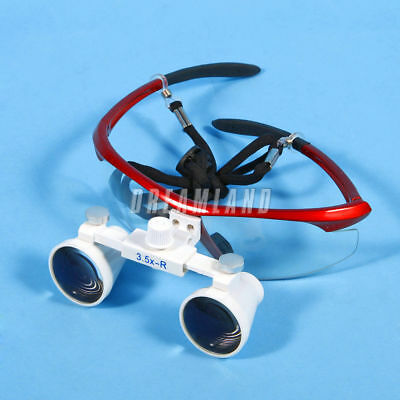 Dental Surgical Binocular Loupes Glasses Lens Magnifier 3.5X 420mm red colour