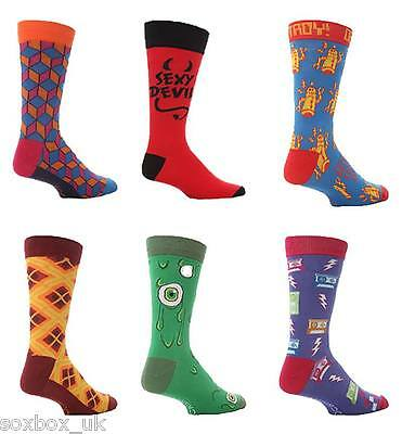 Dare to wear - 1 pack mens coloured funny cotton socks in 5 different styles.