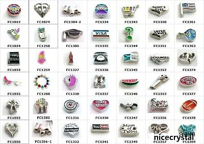 NEW 10pcs Mix Style Floating Charms For Glass Living Memory Locket Free Shipping