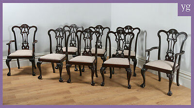 Antique Set of 8 Eight Georgian Chippendale Style Mahogany Kitchen Dining Chairs