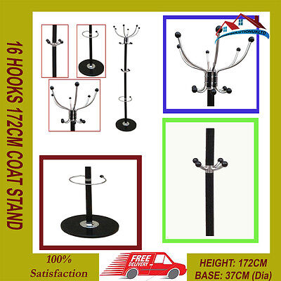16 Hooks 172Cm Coat Stand Hat Jacket Holder Clothes Hanger Umbrella Rack Black