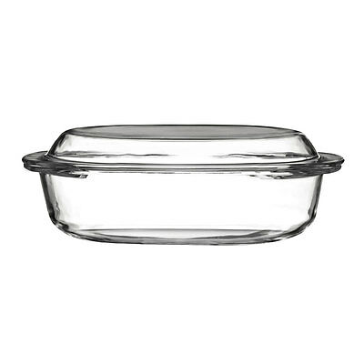 Premier Housewares 1.5 Litre Clear Glass Oval Roasting Casserole Dish With Lid