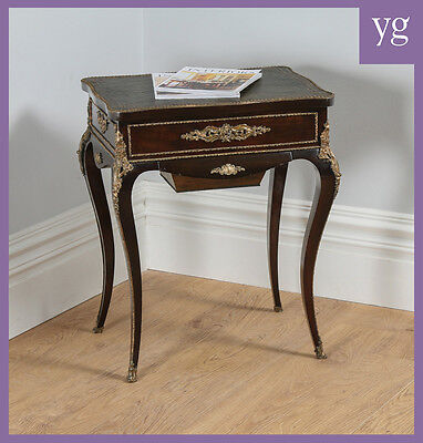 Antique French Louis XVI Mahogany Leather Gilt Writing Sewing Table Desk Tahan