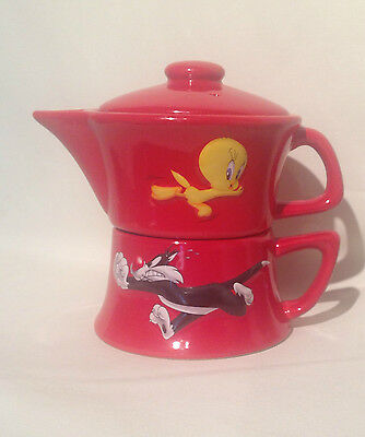 Sylvester and Tweety Tea Pot and Cup Single Serve Red Ceramic