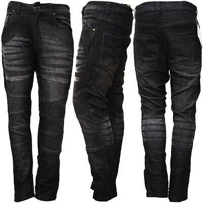 Mens Motorcycle Motorbike Jeans Denim Trouser Pant Protective Lining Black Jeans