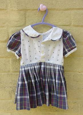 Vintage baby dress tartan Scottish age 1 classic girls 60's pleated skirt