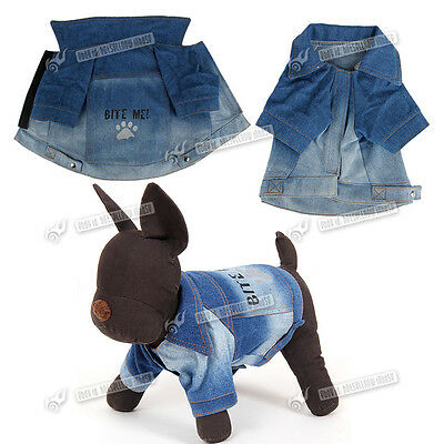 Dog Clothes Pet Dog Coat Costume Jacket Apparel Blue Jean For Small Large Dogs