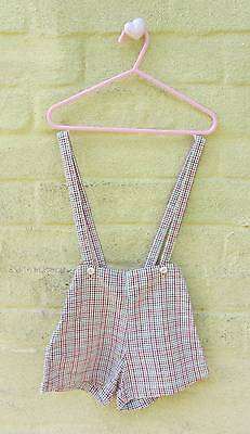 boys vintage shorts & braces red gingham cotton 1930's age 3