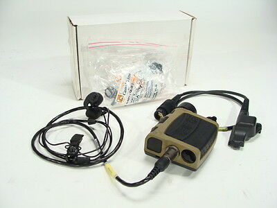 Used Nacre Quietpro Single Tactical Combat Headset w/ Ear Buds & XTS Radio Cable