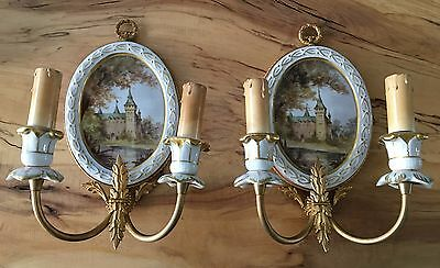 French Limoges Sconces, Antique Sconces, French Antique Sconces