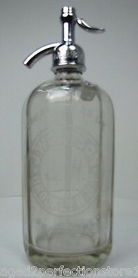 Old J Wolfson Brooklyn NY Ribbed Glass Seltzer Bottle clear eteched advertising