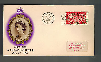 1953 London England First Day Cover QE II Queen Elizabeth coronation to USA FDC