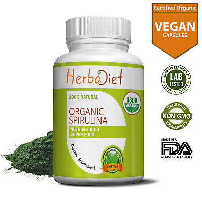 100% PURE Organic Spirulina 500mg Tablets Veg Pills Superfood Detox Cold Pressed