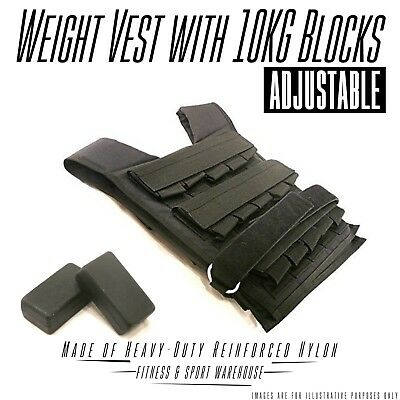 NEW Adjustable Weight Vest with 10KG Blocks Fitness Gym Equipment Exercise Gear