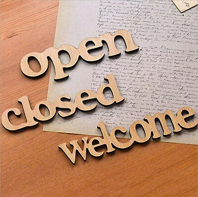 DIY Home Garden Wood Welcome Open Closed Sign Heart Shape Wood Wall Sign Decor
