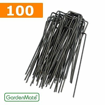 GardenMate® 100x 6''/150mm U-shaped Garden Securing Pegs - Ideal for securing w
