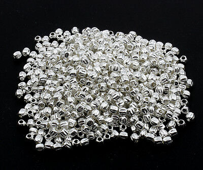 🎀 3 FOR 2 🎀 100 Silver Pumpkin 3mm Spacer Beads For Jewellery Making